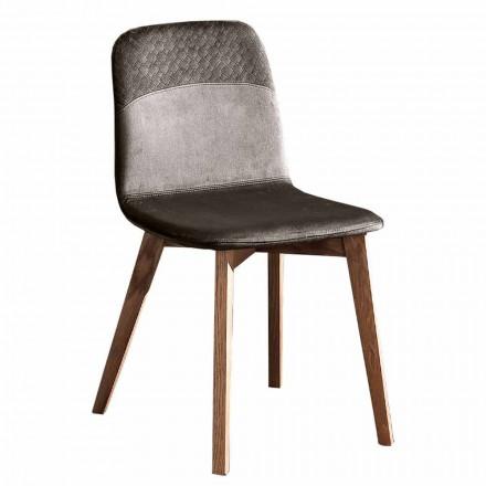 Elegant stol af moderne design i farvet fløjl og træ 4 stykker - Bizet