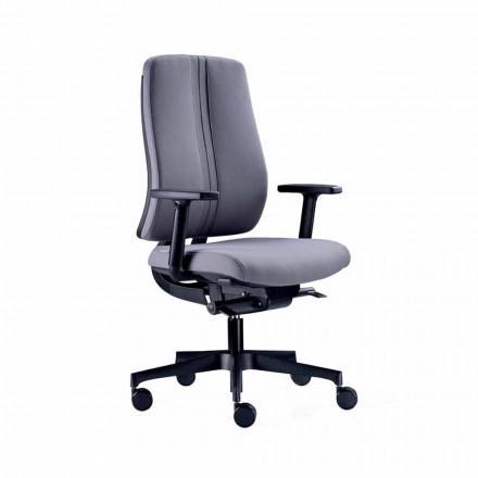Ergonomisk moderne drejelig kontorstol i sort brandfast stof - Menaleo