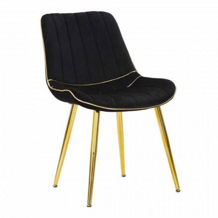 Polstret stol til spisestue-design i træ og stof, 2 stk. - Kolly