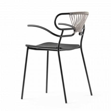Stabelbar stol med metalstruktur og reb lavet i Italien, 2 stykker - Trosa