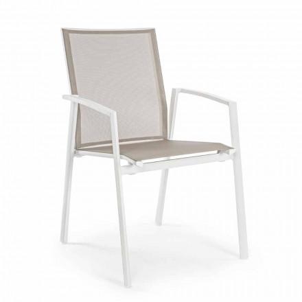 Stabelbar udendørs stol malet aluminium, Homemotion, 4 stykker - Odelia