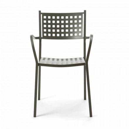 Stabelbar udendørs stol i malet metal fremstillet i Italien, 8 stykker - Lina