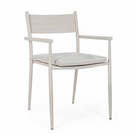 Stabelbar udendørs stol i stof og aluminium, Homemotion, 4 stykker - Imani