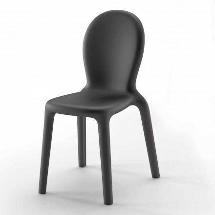 Stabelbar stol i farvet polyethylen fremstillet i Italien, 2 stykker - Jamala