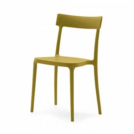 Stabelbar stol i polypropylen fremstillet i Italien, 4 stykker - Argo