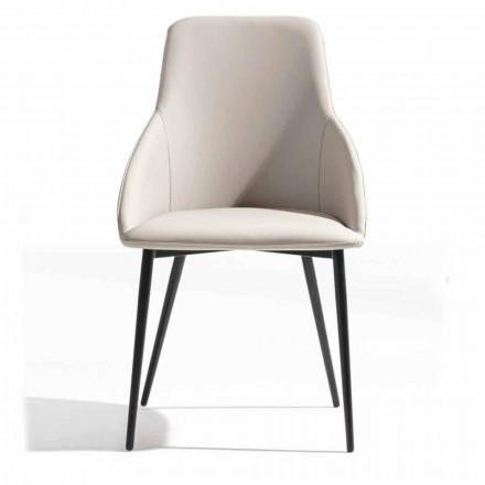 Øko-læderstol med dekoreret ryg og sort metalbase, 2 stykker - Nima