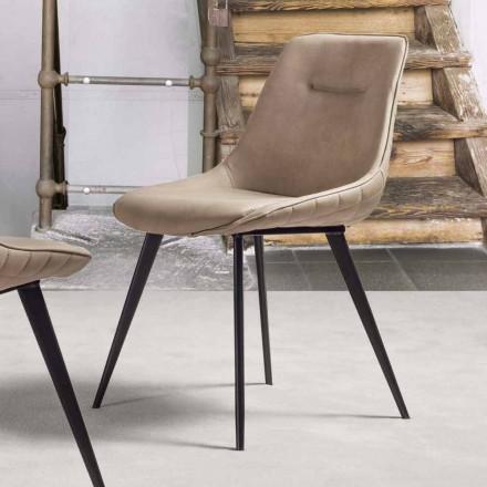 Øko-læderstol Nabuk-effekt med metalstruktur - Ermes