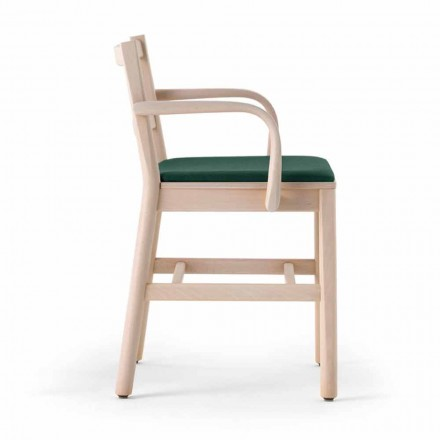Massiv bøgestol med armlæn og polstret sæde fremstillet i Italien - Nora