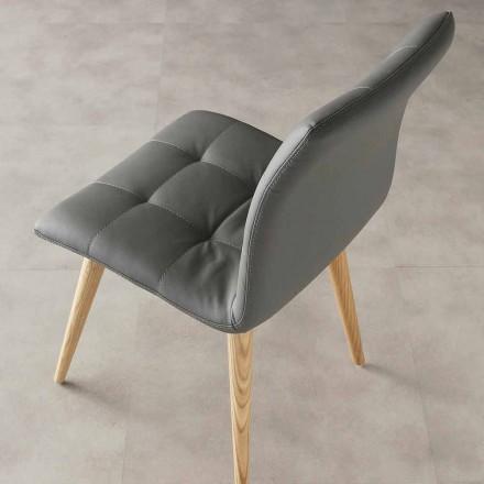 Moderne designstol Viola, øko-læder polstring og træben