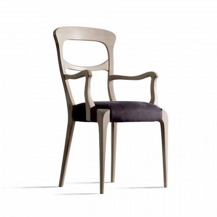 i massiv valnød stol med armlæn og sæde stof, Noemy