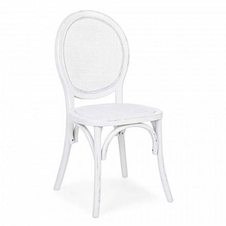 Homemotion Classic Design Rattan og Elm Wood stol - Alfreda