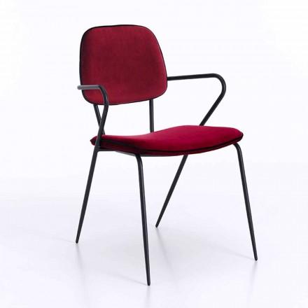 Moderne stol med armlæn og sæde overdækket i fløjl, 4 stykker - Cioli