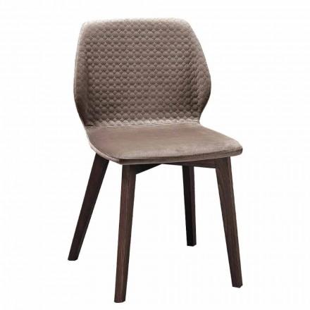 Moderne elegant designstol i quiltet fløjl og træ 4 stykker - Scarat