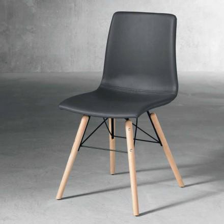 Moderne stol i træ og sort miljølæder lavet i Italien Ranica