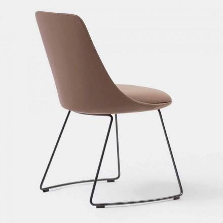 Moderne læderstol med slæbase lavet i Italien - Itala Si