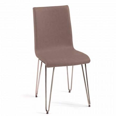 Moderne stol i læder eller imiteret læder til spisestue eller Maha køkken