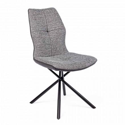 Moderne stol overdækket i polyester og kunstlæder 4 stykker Homemotion - Plero