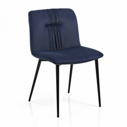 Monocoque stol i farvet stof og sort metal design 4 stykker - Florinda