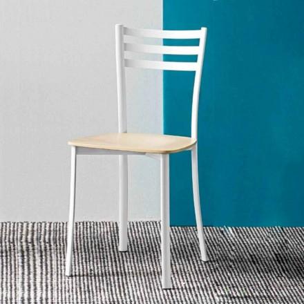 Moderne køkkenstol i hvidmetal og bøg, lavet i Italien, 2 stykker - ess