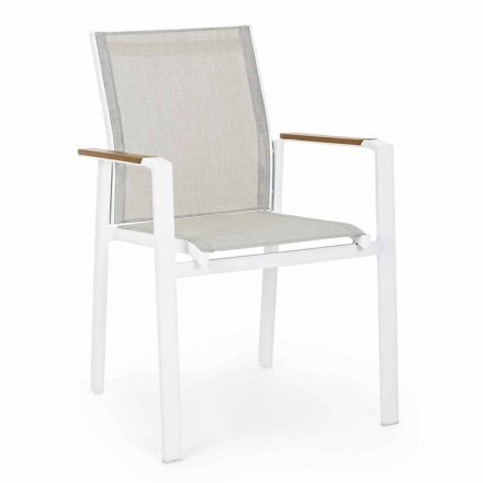 Stabelbar udendørs stol med armlæn i aluminiumshemotion - Sciullo