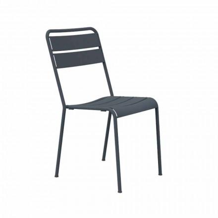 Stabelbar udendørs stol pulverlakeret Fremstillet i Italien, 4 stykker - Amina