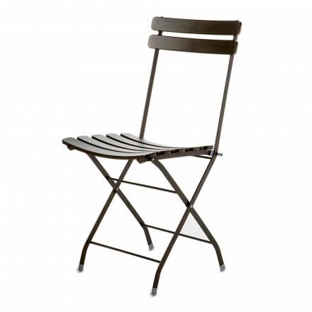 Udendørs klapstol i malet metal fremstillet i Italien, 4 stykker - Lori