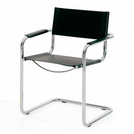 Mødelokale stol i sort læder og metal - Cirillo