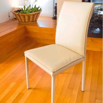 Bessie duvefarvet læderstole spisestue stol, lavet i Italien
