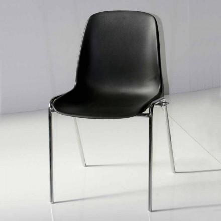 Stol for mødelokale eller moderne konferencelokale i metal og sort ABS - Zetica
