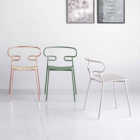 Ædle stabelbar stol i metal og aske Fremstillet i Italien, 2 stykker - Trosa