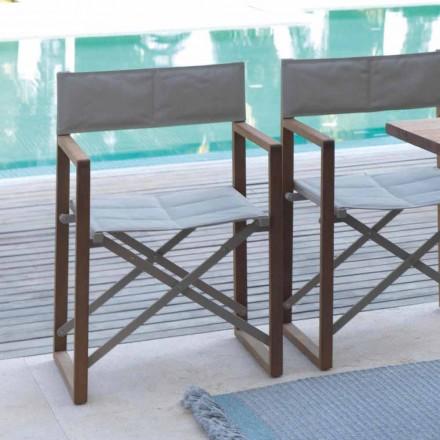 Folding leder stol til udendørs i mahogni og Textilene Bridge