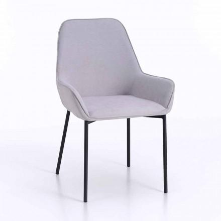 Design spisestol i mikrofiber og sort metal, 4 stykker - Cracco