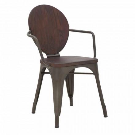 Industriel designstol Træstol og jernbase, 2 stykker - Delia