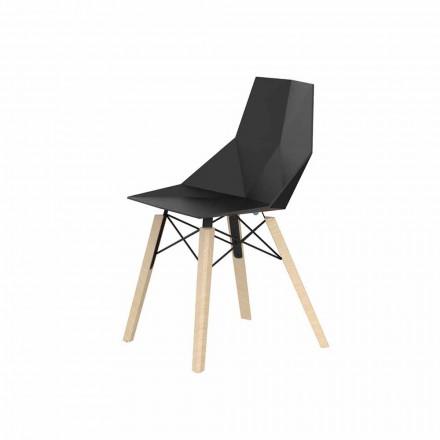 Stue eller køkkenstole i polypropylen og træ - Faz Wood af Vondom