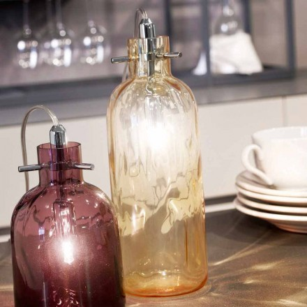 Selene Bossa Nova bordlampe Ø10 H 26cm i rav blæst glas