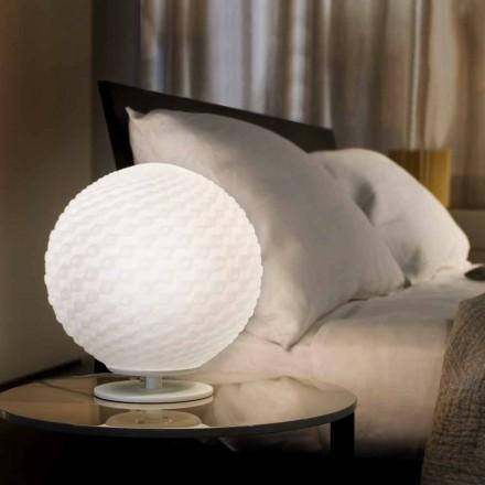 Selene Domino fra hvid bordlampe i blæst glas O27 H 30cm