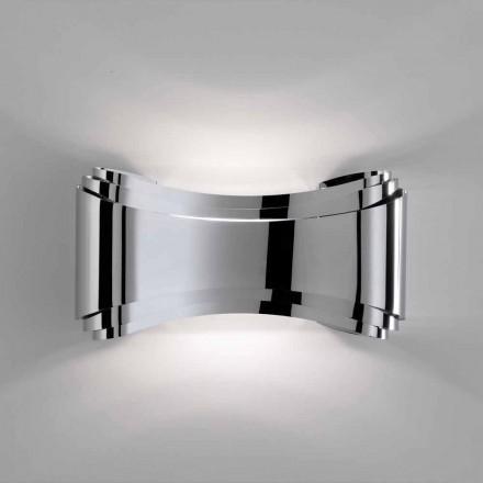 Selene Ionica væglampe fremstillet i Italien, 30x10 H16cm, glas og stål