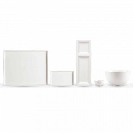 Sæt med 20 retter i hvidt porcelæn med et moderne rektangulært design - Laos