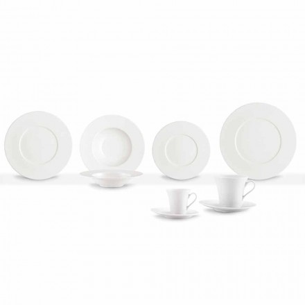 Service 24 moderne hvide middagsplader og 12 porcelænskopper - Monaco