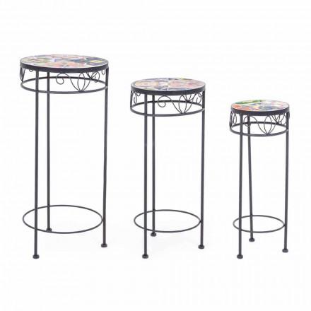 3 udendørs borde af runde stål med designdekor - fortryllende
