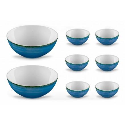 Service 6 isskåle og 2 skåle i farvet porcelæn - Rurolo