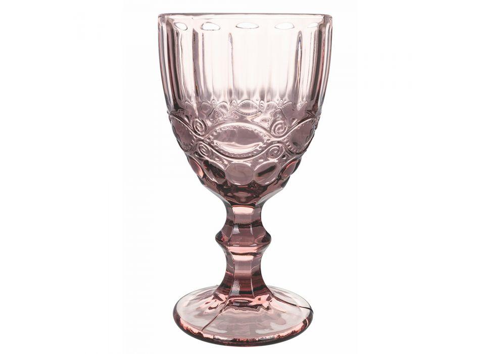 Bægerglas Service i farvet og dekoreret glas 12 dele - Garbo