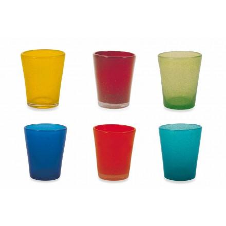 Vandglasservice 12 stykker blæst og farvet glas - Yucatan Folk