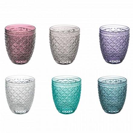 Farvede og dekorerede vandbriller Service 12 stykker glas - pastill