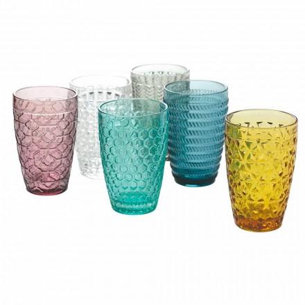 Moderne drinkware sæt i dekoreret farvet glas 12 stykker - Mix