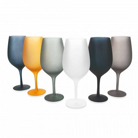 Rød eller hvidvinsbægersæt i farvet glas, 12 stykker - kant