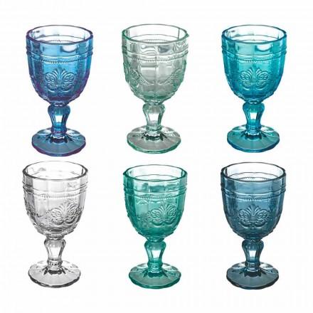 Farvet vinbægersæt i glas og orientalsk dekoration 12 stykker - skrue