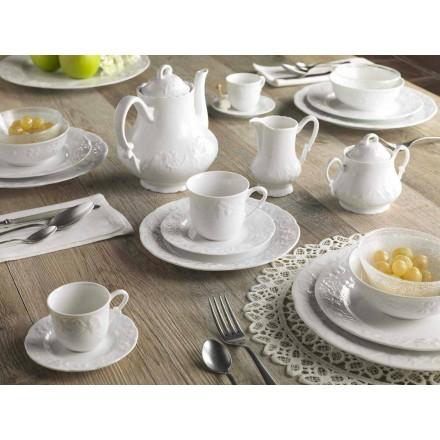 Komplet morgenmadsservice 22 stykker i hvidt porcelæn - Gimignano