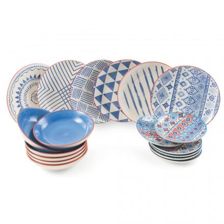 Komplet bordsservice Farvede og moderne retter 18 stykker design - inkaer