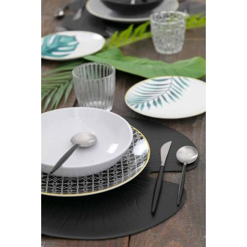 Bestik bestik i sort stål moderne design 24 stk - Calamo